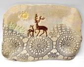 Ceramic platter serving tray  rustic handmade  pottery tray deer winter