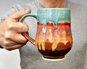 Ceramic Beer Stein  coffee mug tea mug wheel thrown stoneware pottery mug Fathers Day  Joyful Blaze series