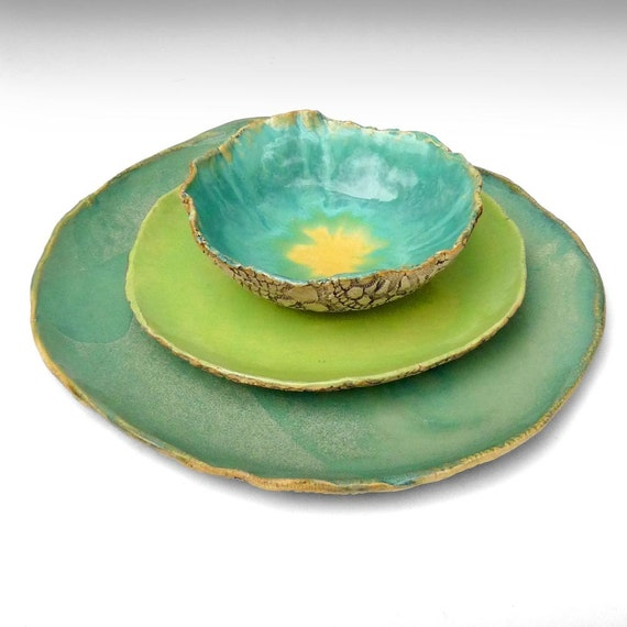 Rustic Stoneware Dinnerware Handmade Organic Soul 3 Piece Set
