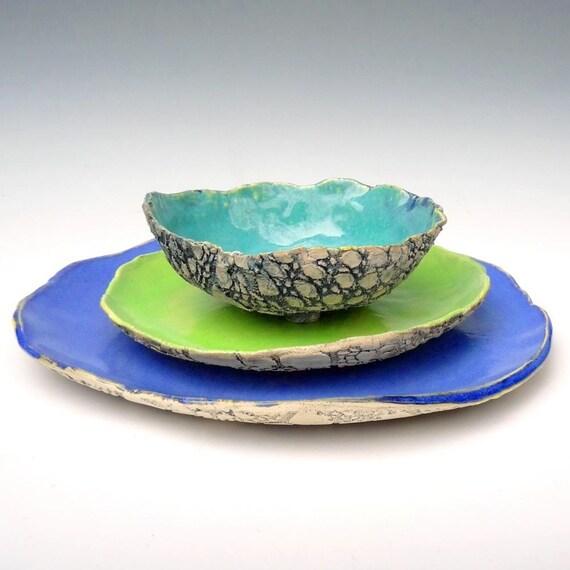 Items Similar To Rustic Stoneware Dinnerware Handmade
