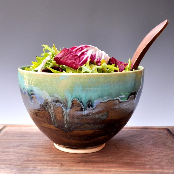 Serving bowl Noodle Bowl food prep ceramic bowl Farmhouse Morning Turquoise and Khaki Brown wheel thrown stoneware