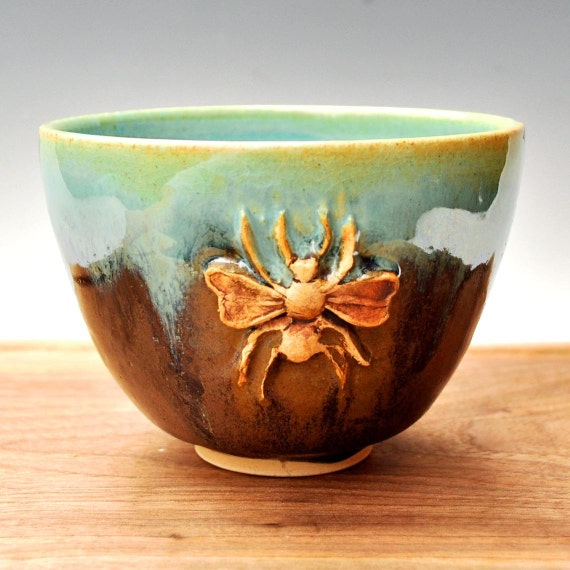 Honey Bee Yunomi (Tea Bowl) in Farmhouse Morning Turquoise and Khaki Brown glazes handmade wheek thrown stoneware pottery 20 oz