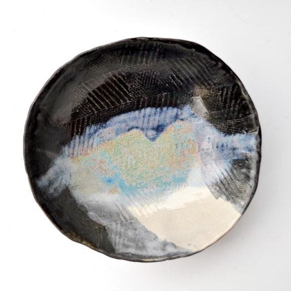 modern Ceramic Bowl - geometric textured  bowl minimalist ceramics Black White Blue glaze Urban Rustic series 12 oz