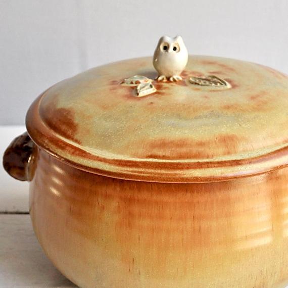 Ceramic Owl lidded casserole dish handmade pottery baking dish  with Tree Branch Handles 4 quart
