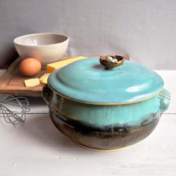 ceramic Casserole handmade lidded  stoneware casserole baking dish bird nest with eggs wheel thrown