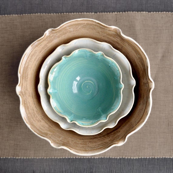 ceramic nesting bowls set of 3 flower shape handmade serving bowls brown turquoise gray white