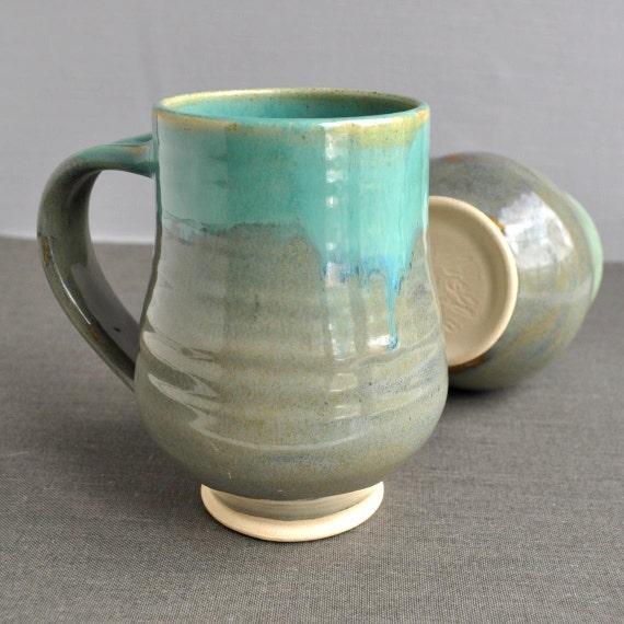 Handmade Pottery Mug or Beer Stein tea mug Turquoise Zen Garden minimalist stoneware pottery