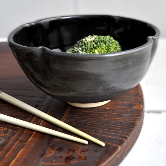 minimalist pottery  Bowl in Black  2 cup Flower bowl handmade artisan food lover gift