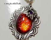 Dragon Breath Fire Opal Art Glass Flower Necklace