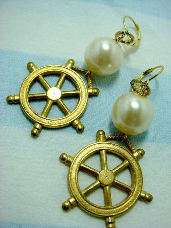 RESERVED for goddessminerals - Sailors Wheel Earrings