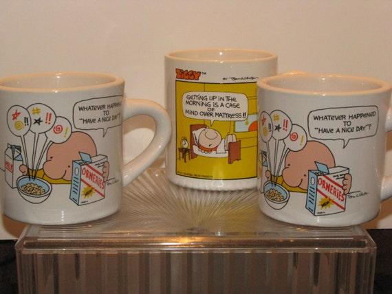 Lot of Three Funny Ziggy Mugs