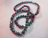 Rainbow Plated, Crystal Rondells, Faceted Crystals, 6 mm,  8 inch Strand, 72 Crystals,  Jewelry Supplies