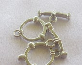 Nautical Themed Toggle Clasps, Set of 2, Silver Coated Pewter