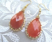 Faceted Carnelian Teardrop Dangle Earrings, Gold place