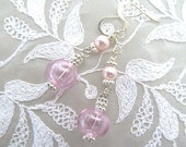 Pink Bubble Gum Dangle Earrings with Clear Pink Lampwork Beads and Swarovski Pearls