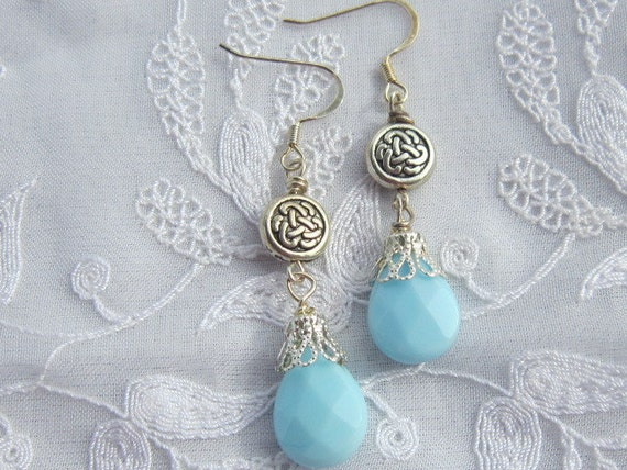Celtic Love Knot Earrings with Turquoise Blue Opaque faceted Crystal Drops
