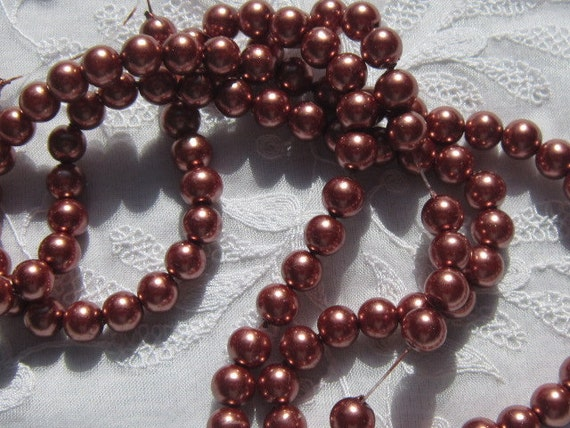 Glass Pearl Copper Beads, 8 mm, 8 inch strand