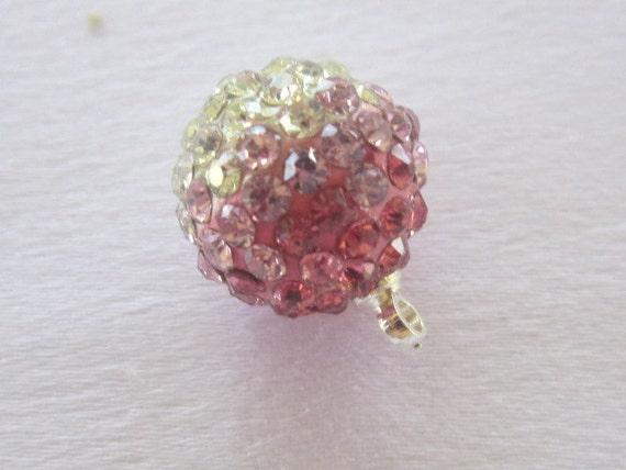 Rhinestone Pendant, Ball Pendant, Pink and Clear Crystals, 1 piece, 12 mm