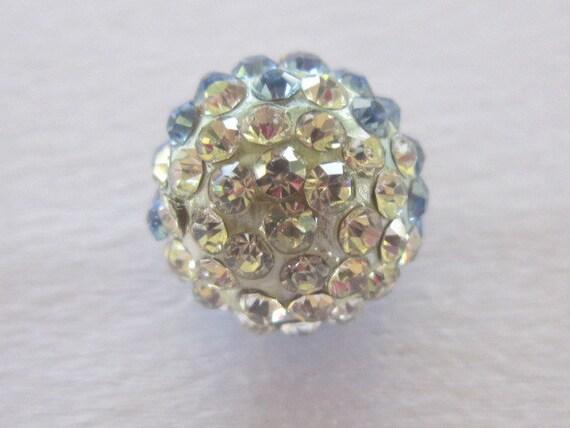 Rhinestone Ball Pendant, Purple Aqua Crystals, 12mm, 1 piece