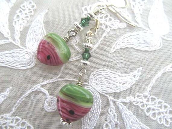 Handmade Watermelon Lampwork Dangle Earrings, Silver