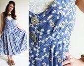 Vintage EXPRESS Floral Periwinkle FESTIVAL Dress