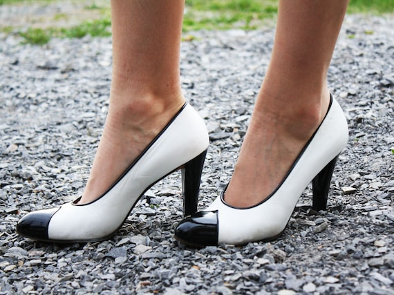 Vintage YSL Black and White Tuxedo Pumps size 6.5