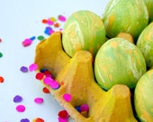 Cascarones (Confetti Eggs), FIVE DOZEN, Green and Yellow Marbled, for Easter and Spring Celebrations