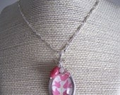 handmade interchangeable pendant with gemstones and pink tulip vine print - Pick-A-Pendant Blooming Fuscia Vine
