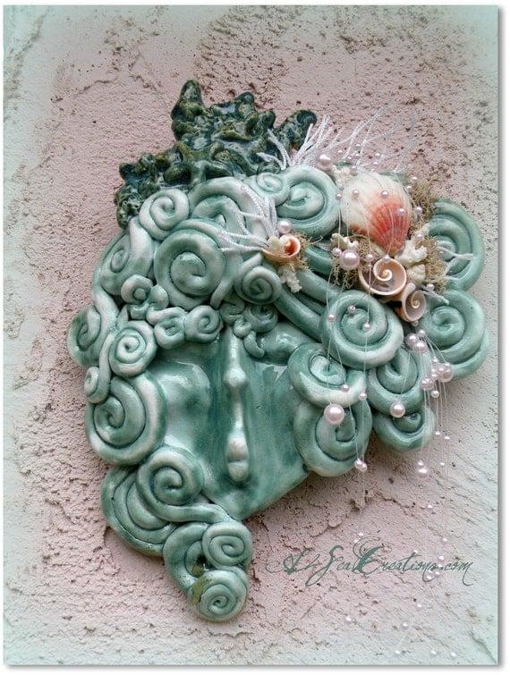 Oceanna - Mermaid Sea Queen - Handbuilt Clay Face
