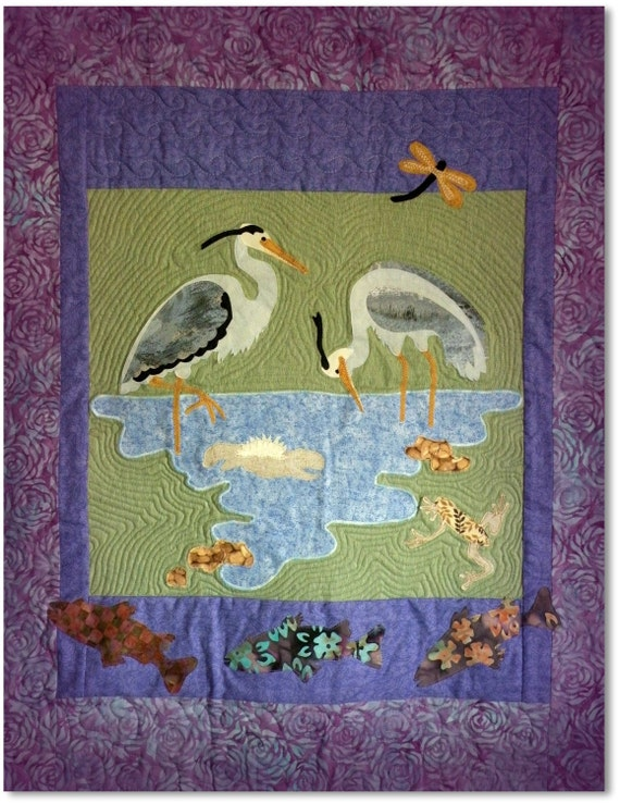 By The Pond - Handmade Quilted Wall Hanging