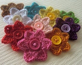 NEW-Crochet flowers with button-fb-12
