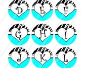 """ALPHABET Images for Bottle Caps 1"""" Circles with Zebra and Hearts-Aqua Blue"""