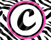 iPhone and iPod Touch Background Image-Zebra Monogram Wallpaper and Lock Screen with HOT PINK Accents