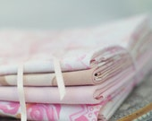 Set of 4 Pink Vintage Fabric Fat Quarters