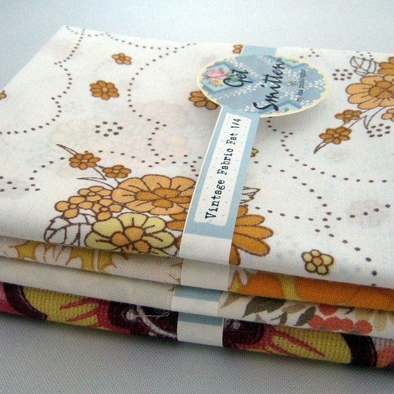 Autumn Fall Cute Yellow Floral Vintage Fabric Fat Quarter ...