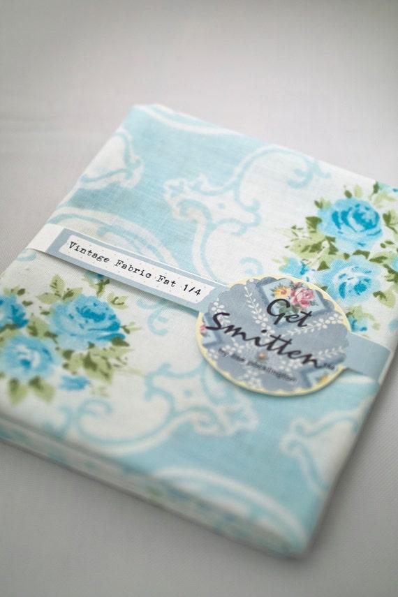 Reserved for Stef - Elegant Pale Blue Floral Vintage Fabric Fat Quarter