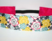 Thick Turquoise and Pink Flower Non-Slip HeadBand