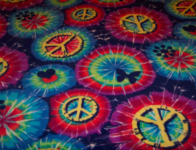 Tie Dye Peace Sign Fleece Throw Blanket
