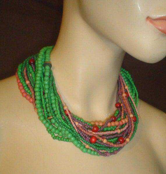 Massive vintage glass bead statement necklace choker gorgeous
