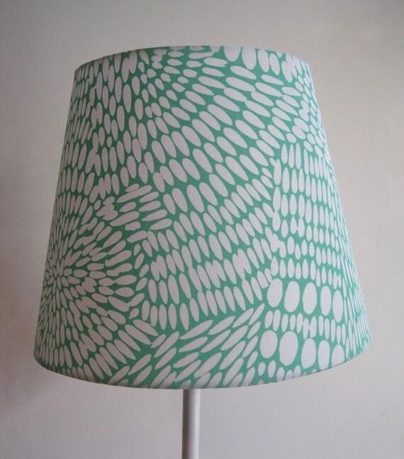 Green Floral Lamp Shade : Light blue green flower lamp shade by jeannemcgeeart on etsy