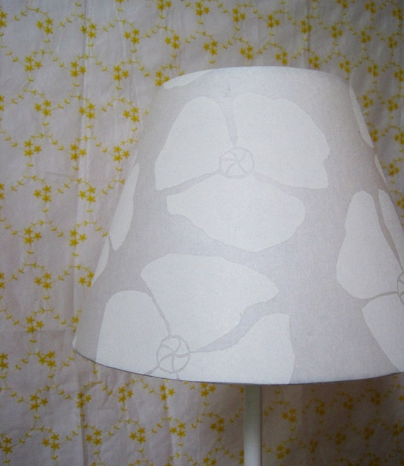 Hand Printed Modern White Poppies Lamp Shade- clip on lampshade made from handprinted paper