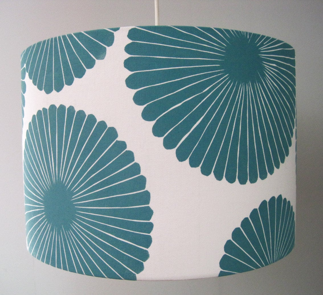 blue flower lamp shade by jeannemcgeeart on etsy. Black Bedroom Furniture Sets. Home Design Ideas