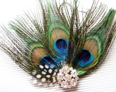Bridal Peacock Feather Hair Piece Wedding Hair Accessory on Clip with Rhinestone Jewel