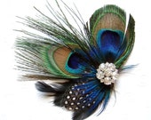 Wedding Hair Piece Blue Peacock Feather Hair Clip for a WEDDING Bridal Accessories Fascinator bridesmaid for a bride
