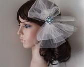 Ivory Wedding Veil Bridal Hair Clip VINTAGE BLUE CRYSTAL birdcage pouf