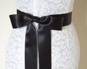 Wedding Dress Sash Plain BLACK steampunk bow bridal belt accessory- 2 inch, Ready to Ship