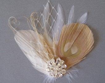 Ivory feather white Weddings hair accessory facinator Bridal Fascinators Bride veil netting lace