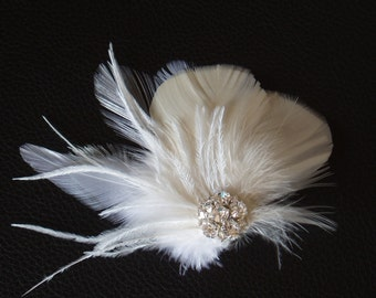 Feather Fascinator Wedding Accessories Ivory White Bridal Bridesmaid Special Occasion Hair Piece hairpiece