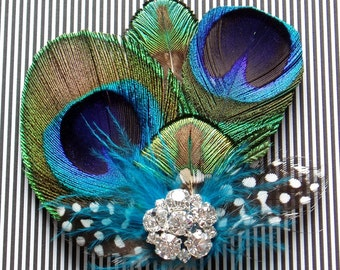 Bridesmaid Peacock Fascinator Feather Hair Piece Clip WEDDING HAIRPIECE comb Rhinestone