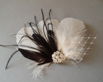 Feather Weadding Hair Clip Black and Ivory Bridal Fascinator - Rhinestone Jewel